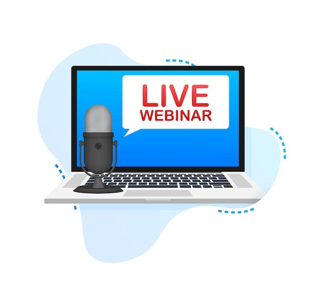 Live webinar knop, pictogram, embleem label vectorillustratie.