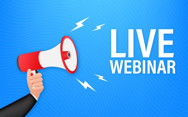 Live webinar-knop, pictogram, embleemlabel vectorillustratie