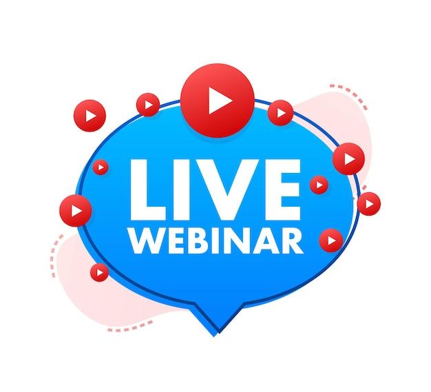Live webinar-knop, pictogram, stempel, logo. etiket geïsoleerd op een witte achtergrond. vector illustratie.