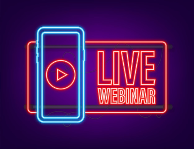 Live webinar-knop, pictogram, stempel, logo. neon icoon. vector illustratie