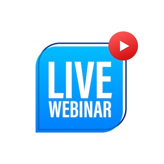 Live webinar knop, pictogram, stempel logo vectorillustratie