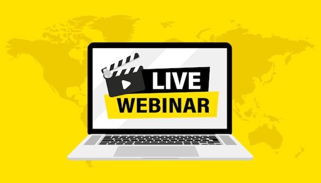 Live-webinar. laptop met banner live webinar en klepelborden spelen knoppen. webinar, seminar, online afstandsonderwijs, videocollege, conferentie, thuiswerken. live streaming. video uitleg