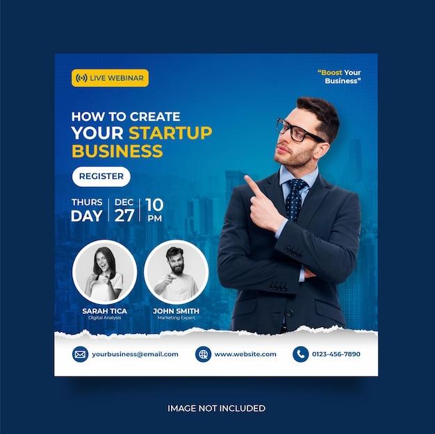 Live webinar voor digitale marketing en postsjabloon voor zakelijke sociale media