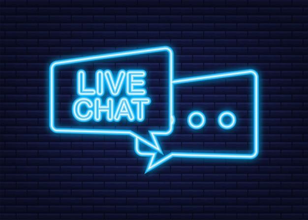 Livechat, geweldig ontwerp voor elk doel. knop op witte achtergrond. website vector pictogram. neon icoon.