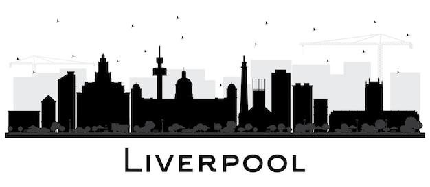 Liverpool city skyline van silhouet met zwarte gebouwen geïsoleerd op wit. vectorillustratie. zakelijk reizen en toerisme concept met historische architectuur. liverpool stadsgezicht met monumenten.