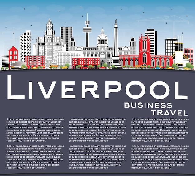 Liverpool skyline met kleur gebouwen, blauwe lucht en kopie ruimte. vectorillustratie. zakelijk reizen en toerisme concept met historische architectuur. liverpool stadsgezicht met monumenten.
