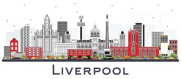 Liverpool skyline met kleur gebouwen geïsoleerd op wit. vectorillustratie. zakelijk reizen en toerisme concept met historische architectuur. liverpool stadsgezicht met monumenten.