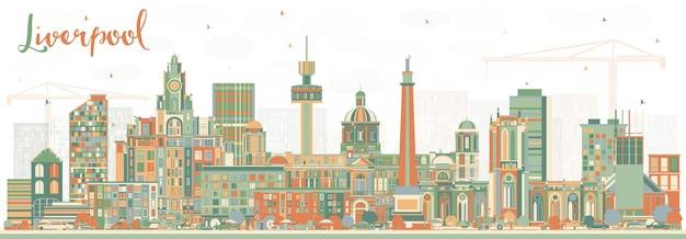 Liverpool skyline met kleur gebouwen. vectorillustratie. zakelijk reizen en toerisme concept met historische architectuur. liverpool stadsgezicht met monumenten.