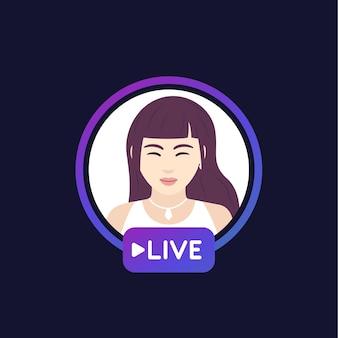 Livestream met een meisje, vectorontwerp