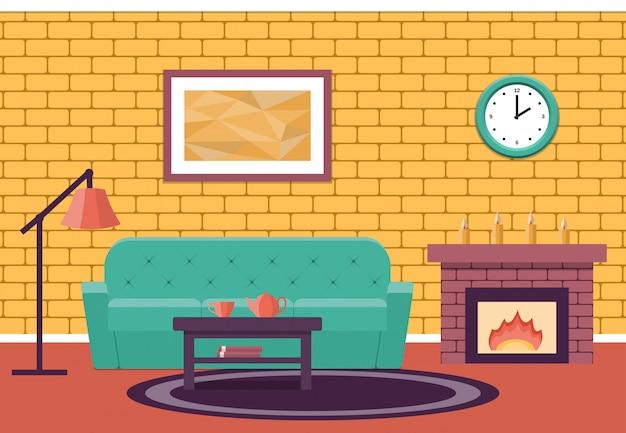 Living interieur lounge in vlakke stijl