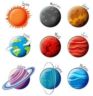 Lllustration van de planeten van het zonnestelsel op een witte achtergrond