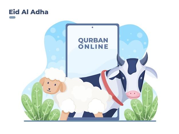 Llustration koop offerdier of qurban dier met online om eid al adha . te vieren
