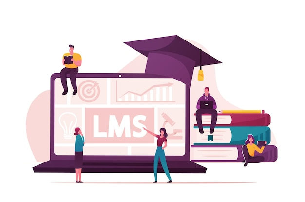 Lms, learning management system concept.