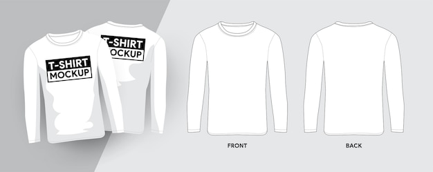 Lobg mouw t-shirt sjabloon overzicht beroerte illustraties