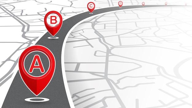 Locatie a tot g pictogram rode kleur op lijncurve met straatkaartachtergrond