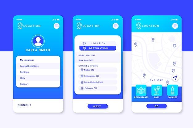 Locatie app-schermen