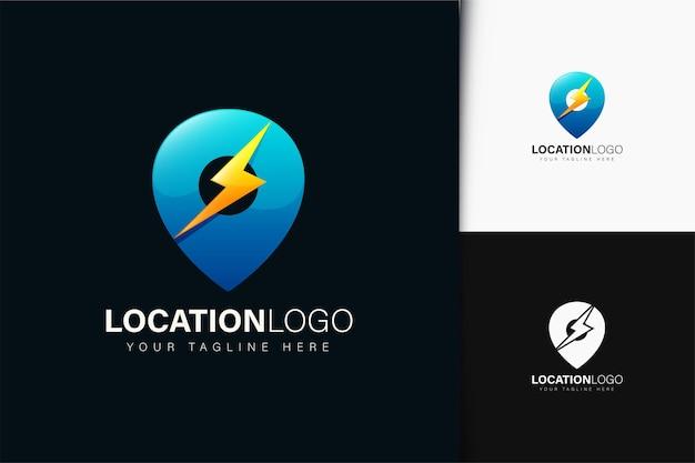 Locatie energie logo-ontwerp met verloop