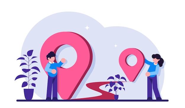 Locatie gps navigatie modern concept illustratie transport levering kaart locatie