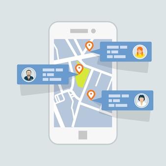 Locatie inchecken op kaart - mobiele gps-navigatie