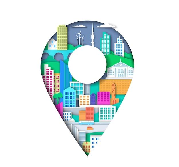 Locatie pin met stadselementen vectorillustratie in papier kunststijl kaart aanwijzer teken stad navigatie