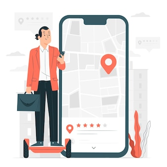 Locatie review concept illustratie