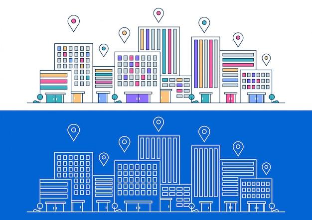 Locatie stad met dunne lijnstijl Premium Vector