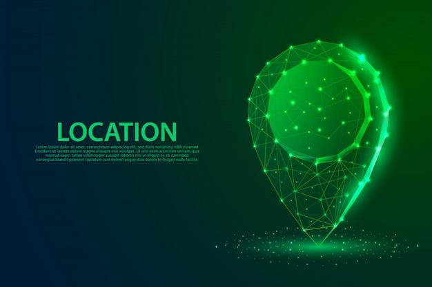 Locatie symboollijnen, driehoeken en deeltjesontwerp