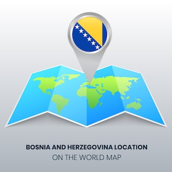 Locatie van bosnië en herzegovina op de wereldkaart, ronde pin icoon van bosnië