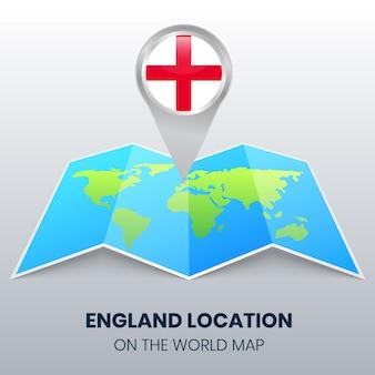 Locatie van engeland op de wereldkaart, ronde pin icoon van engeland