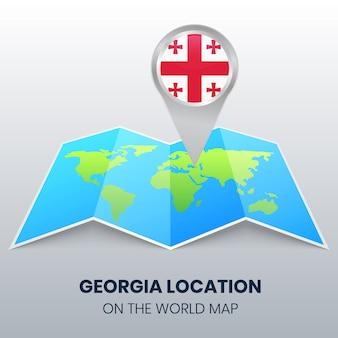 Locatie van georgië op de wereldkaart, ronde pin icoon van georgië