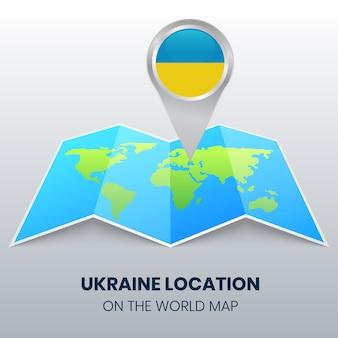Locatie van oekraïne op de wereldkaart, ronde pin pictogram van oekraïne