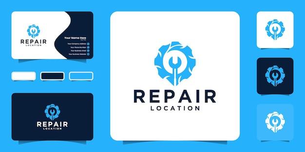 Locatielogo repareren met versnellingsconcept en locatie en visitekaartje