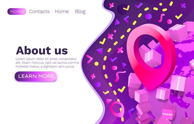 Locatiepakketnavigatie, app-services logistiek, online website-ontwerp