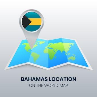 Locatiepictogram van bahama's op de wereldkaart
