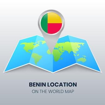 Locatiepictogram van benin op de wereldkaart, ronde speldpictogram van benin