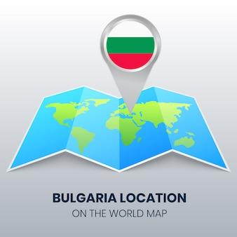 Locatiepictogram van bulgarije op de wereldkaart
