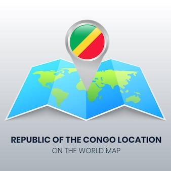 Locatiepictogram van de republiek congo op de wereldkaart ronde pin-pictogram van de republiek congo