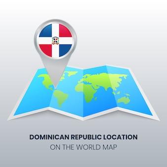 Locatiepictogram van dominicaanse republiek op de wereldkaart