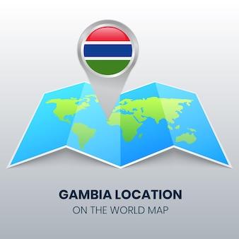 Locatiepictogram van gambia op de wereldkaart, ronde pin-pictogram van gambia