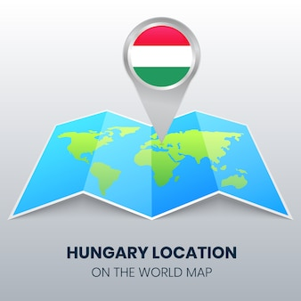 Locatiepictogram van hongarije op de wereldkaart