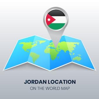 Locatiepictogram van jordanië op de wereldkaart, ronde pinpictogram van jordanië