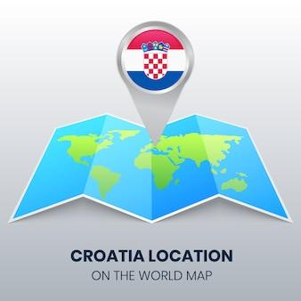 Locatiepictogram van kroatië op de wereldkaart, ronde pinpictogram van kroatië