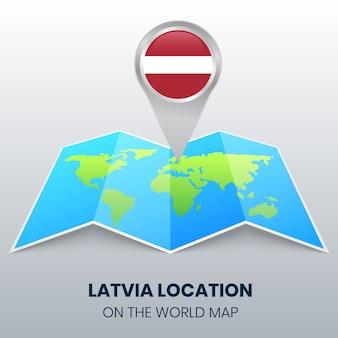 Locatiepictogram van letland op de wereldkaart, ronde pinpictogram van letland