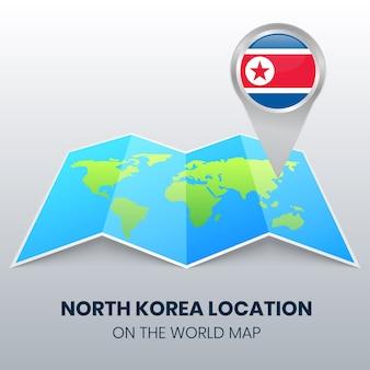 Locatiepictogram van noord-korea op de wereldkaart, ronde pin-pictogram van noord-korea