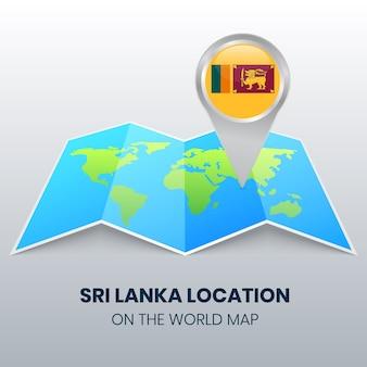 Locatiepictogram van sri lanka op de wereldkaart, ronde pin-pictogram van sri lanka