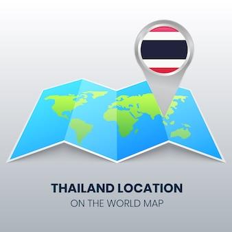 Locatiepictogram van thailand op de wereldkaart, ronde pin-pictogram van thailand