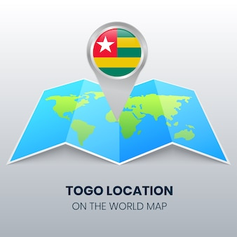 Locatiepictogram van togo op de wereldkaart, ronde speldpictogram van togo