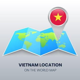 Locatiepictogram van vietnam op de wereldkaart, ronde pin-pictogram van vietnam