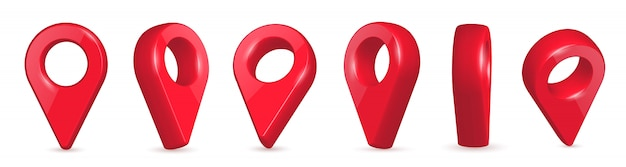 Locator, pin 3d kaartaanwijzers in verschillende hoeken.