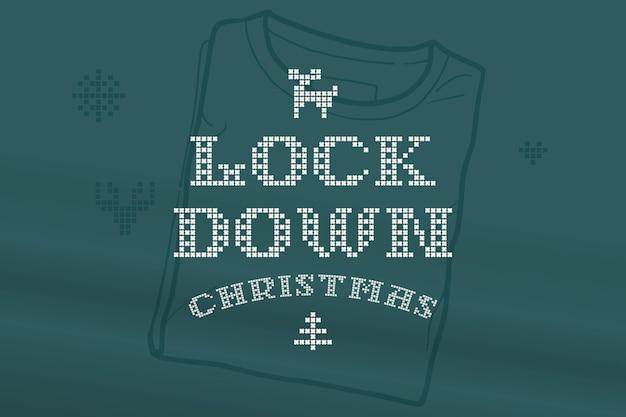 Lockdown christmas-letters zijn gemaakt van dikke ronde breisels platte stijlbord met een set bonuspictogrammen
